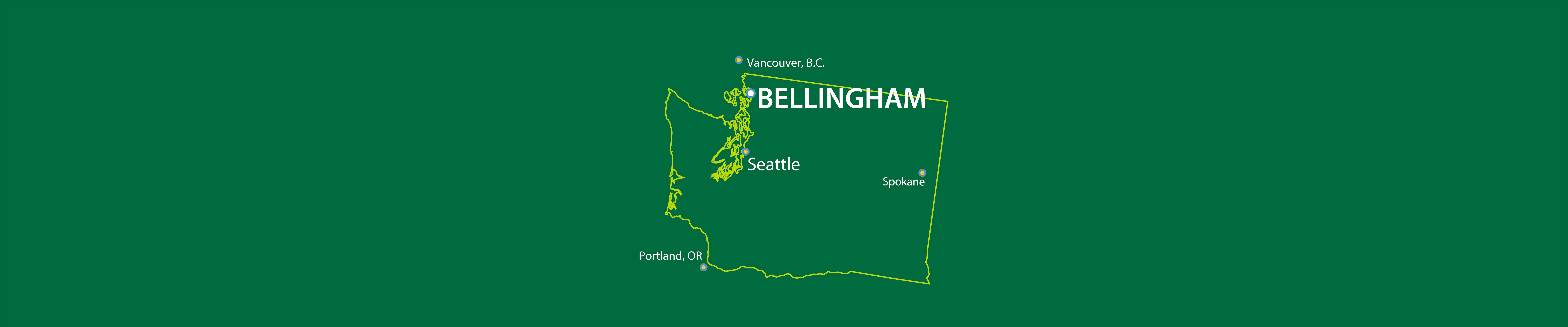 A map of Washington with Bellingham, Seattle, Vancouver BC and other major cities highlighted