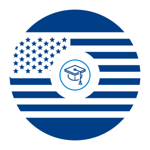 A graphic displaying a grad cap in front of an American flag.