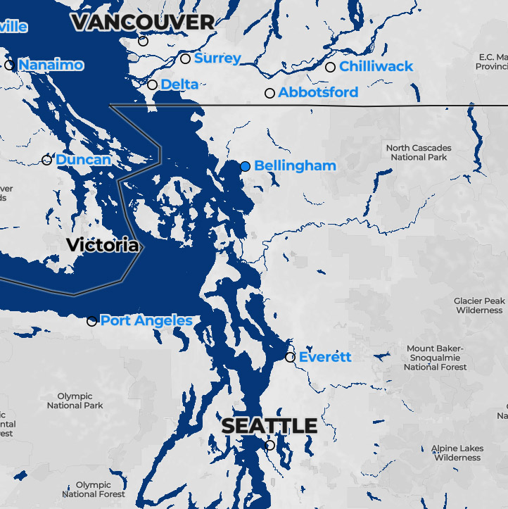 A map of the Washington Coast showing Vancouver, BC; Bellingham; and Seattle.