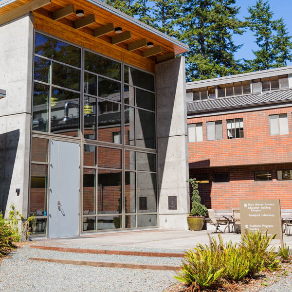 Entry courtyard of Shannon Point Marine Center in Anacortes , WA. Home of the Bachelor of Science degree in Marine and Coastal Science and the Marine Science Scholars program.