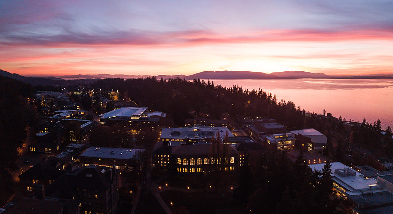 Overlooking campus at sunset.